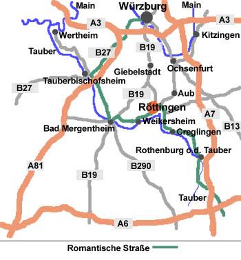 Romantische Straße Karte.Kontakte 4